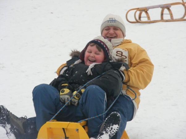 Babcine szaleństwo na śniegu.