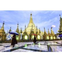 Yangon – stolica Myanmar. Tutejszy kompleks świątynny, powstał 2 i pół tysiąca lat temu. Znajdziemy w nim m.in. strzelistą – można powiedzieć złotą - pagodę Shwe Dagon.